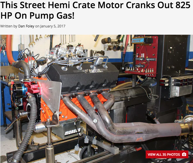 This Street Hemi Crate Motor Cranks out 825 hp on Pump Gas!