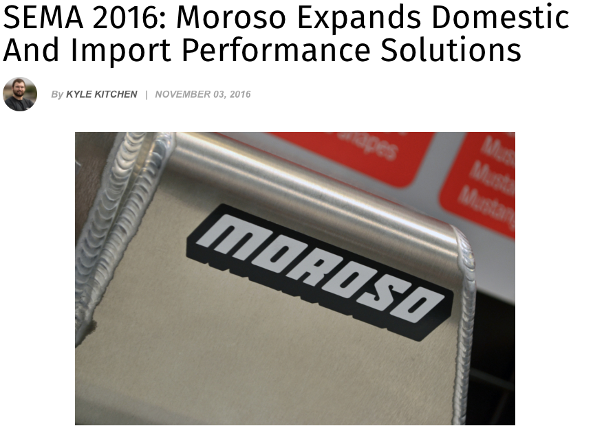SEMA 2016: Moroso expands Domestic and Import Performance Solutions