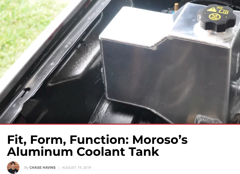 "Power & Performance Magazine: ""Fit, Form, Function: Moroso's Aluminum Coolant Tank"""