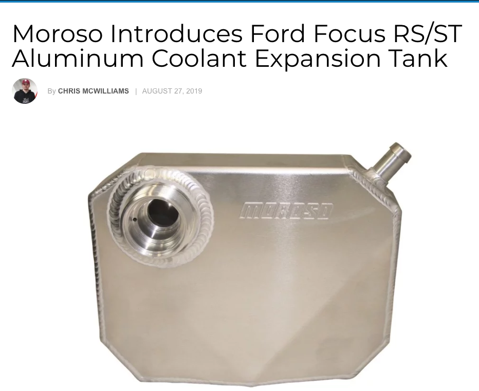 "Ford NXT: ""Moroso Introduces Ford Focus RS/ST Aluminum Coolant Expansion Tank"""