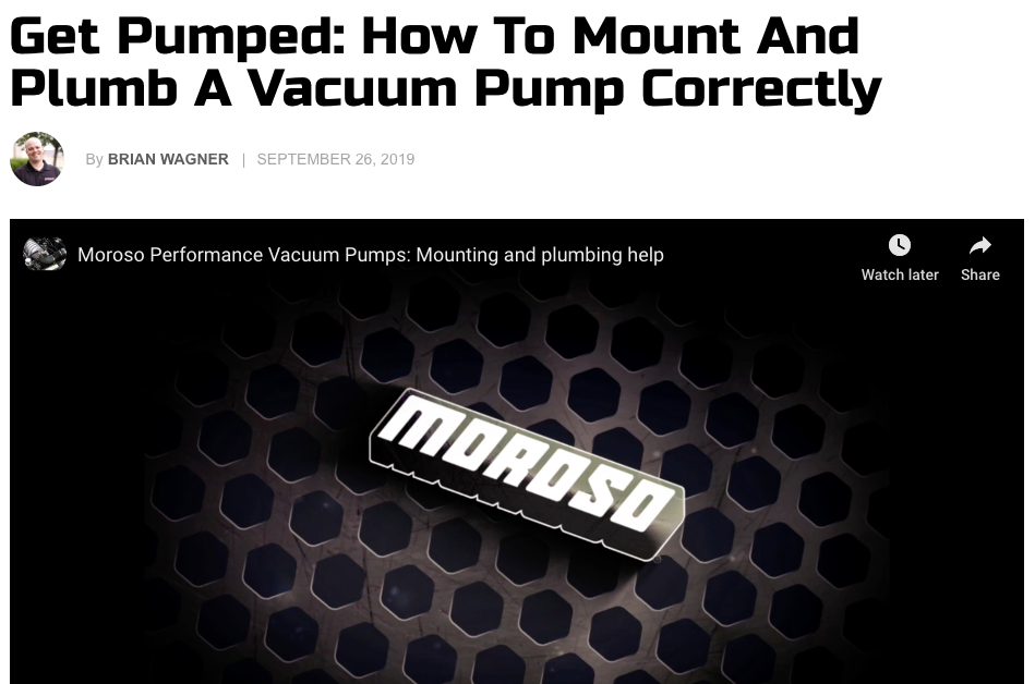 "Dragzine: ""Get Pumped: How to Mount and Plumb  a Vacuum Pump"""