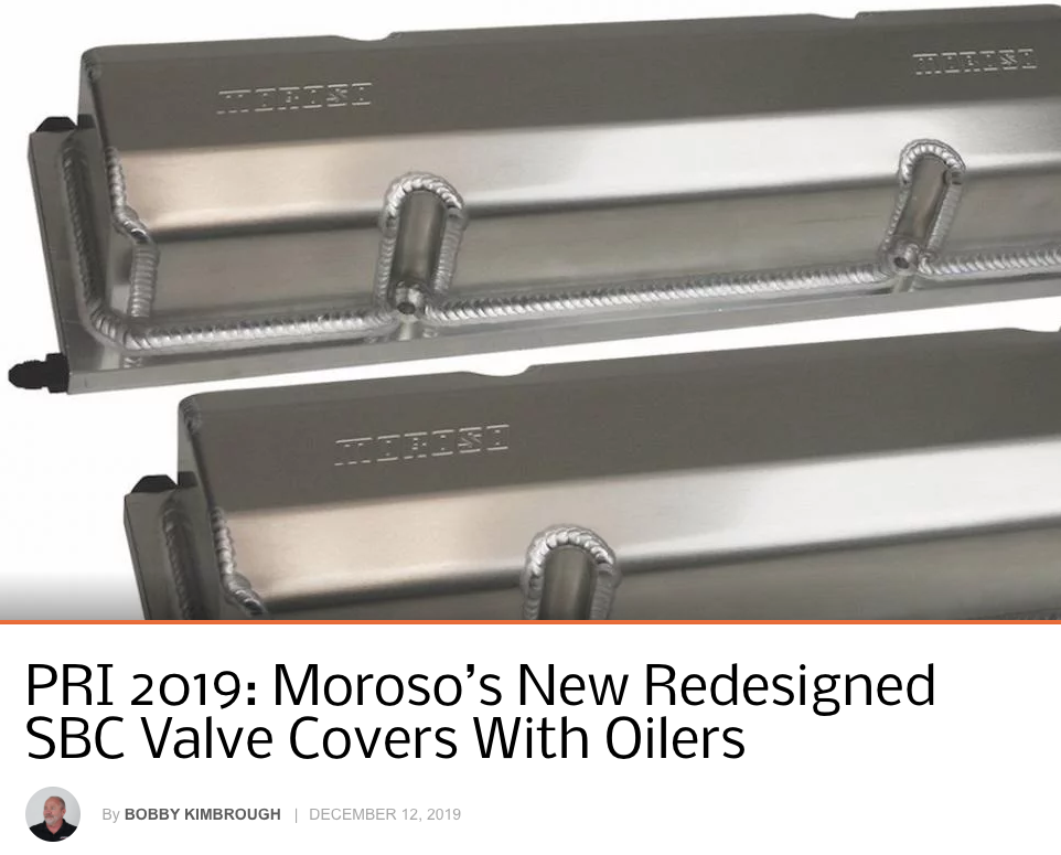 "Chevy Hardcore: Featured Article! ""PRI 2019- Moroso's Redesigned SBC Valve Covers With Oilers"""