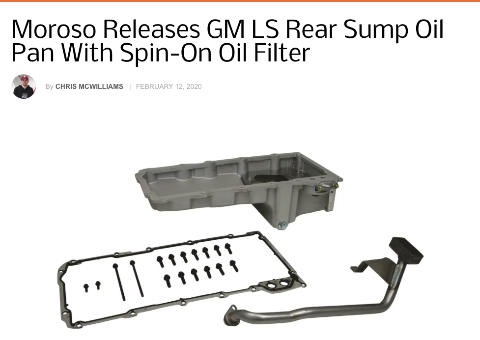 "Chevy Hardcore: Featured Article! ""Moroso Releases GM LS Rear Sump Oil Pan With Spin-On Oil Filter"""