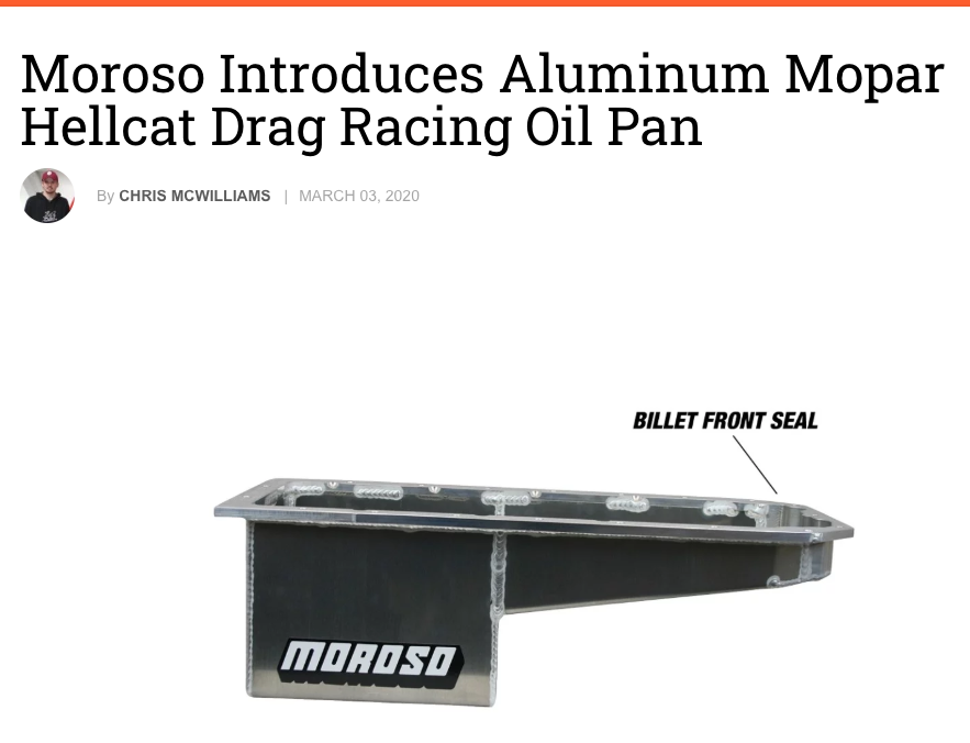 "Engine Labs: Featured Article! ""Moroso Introduces Aluminum Mopar Hellcat Drag Racing Oil Pan"""